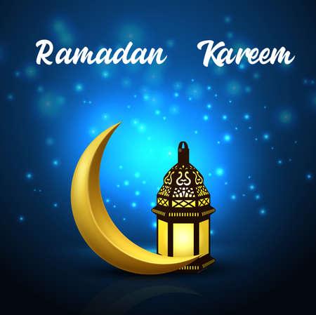 Ramadan Kareem background with crescent moon and arabic lantern Vector Illustration