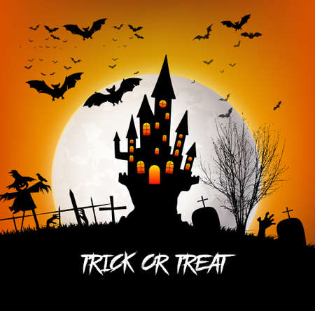 Trick or Treat Halloween with castle and moon
