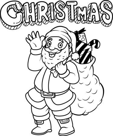 Santa in  stylized doodle vector. Cute Santa Claus with a big sack full of gifts. Hand drawn line illustration. Sketch for coloring page book