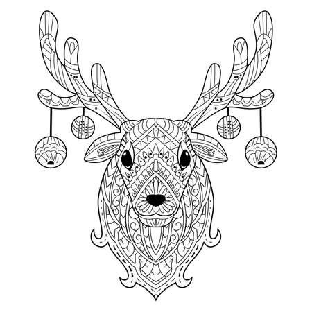 Hand drawn deer head with decoration christmas balls Ilustración de vector