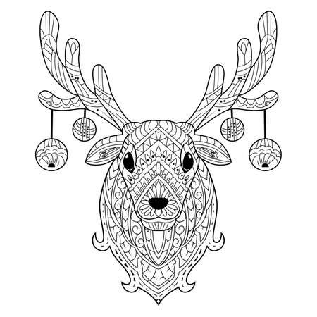 Hand drawn deer head with decoration christmas balls Vetores