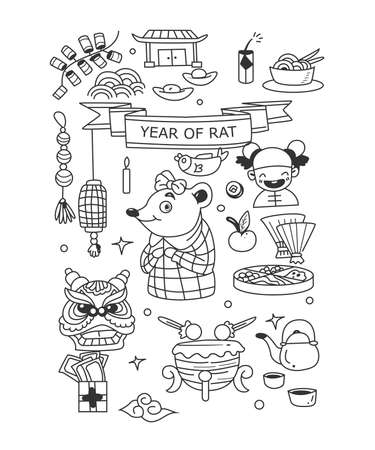 Set of Chinese new year doodle. Year of rat. Isolated on white background