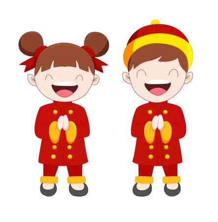 Cute cartoon boy and girl in Chinese costume