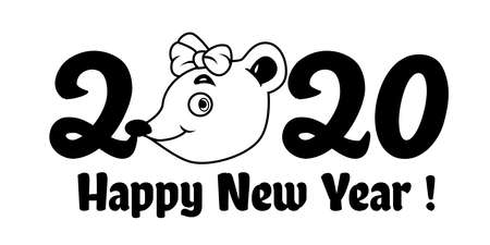 Happy Chinese New Year. Chinese wording translation: Chinese calendar for the year of rat 2020 Иллюстрация