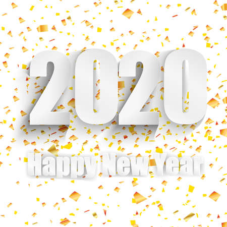 Happy 2020 new year. White numbers design of greeting card. Falling shiny confetti. Happy New Year banner 2020 on white background Иллюстрация