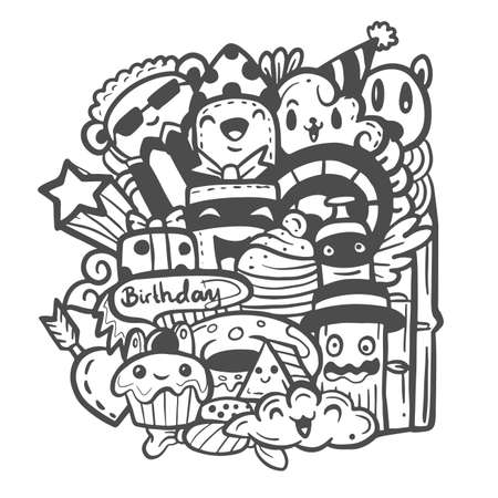 Happy birthday party with cute monsters doodle