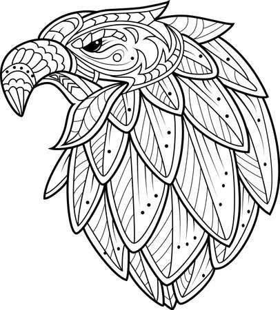 Eagle bird head  in stylized doodle