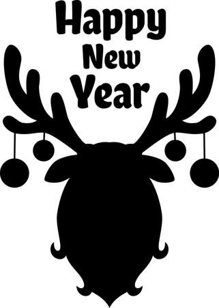 Sillhouette of deer head with christmas balls on antlers Иллюстрация