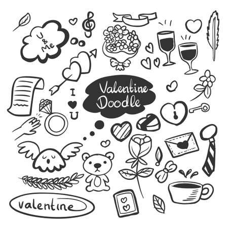 Set of cute Valentine day doodle elements