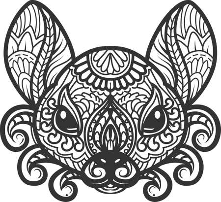 Rat is symbol of New Year 2020.  stylized doodle vector animal drawing of rat head. Decorative ornate vector rat drawing for coloring book