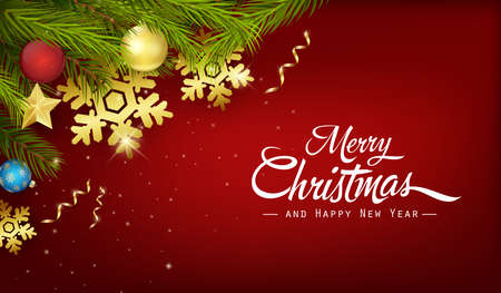Christmas background with fir branches and decorations Иллюстрация
