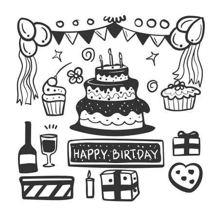 Doodle set of birthday party background