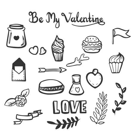 Hand drawn Doodle Be My Valentine