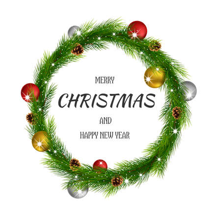 Christmas wreath with colorful balls and pine cone Иллюстрация