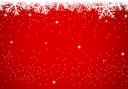 Christmas background with snowflakes on red background Иллюстрация