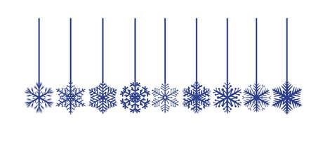 Set of decorative blue snowflakes Иллюстрация