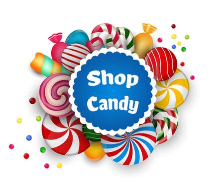 Candy shop on white background
