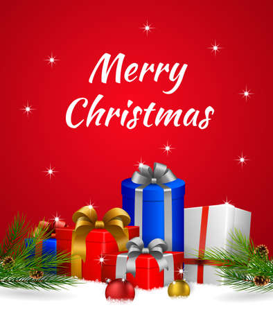 Christmas background with colorful gift boxes