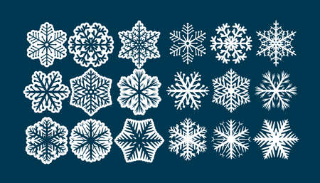 Set of decorative white snowflakes Иллюстрация