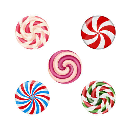 Set of sweet candies on white background Vector Illustration