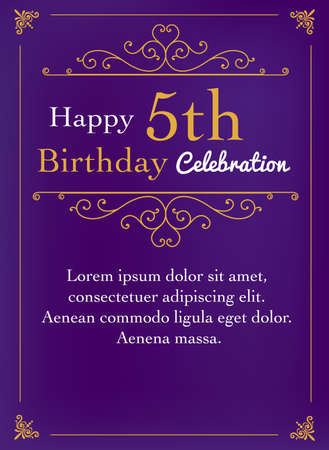 5th birthday greeting card on purple background