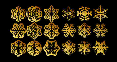 Set of decorative gold snowflakes