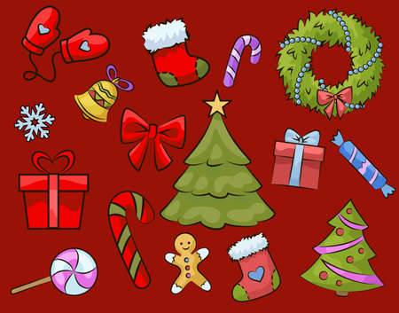 Christmas icons set on red background