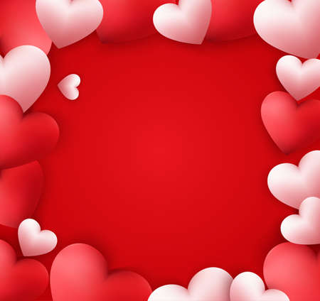 Happy valentines day with hearts and empty space for your text Иллюстрация