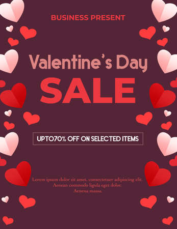 Valentines day sale background with paper hearts