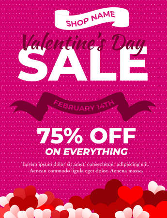 Valentines day sale background with paper hearts.