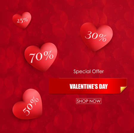 Valentines day sale background with red hearts