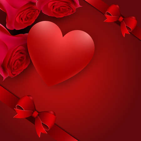 Happy valentines day romance greeting card with red flowers, bow and hearts Иллюстрация
