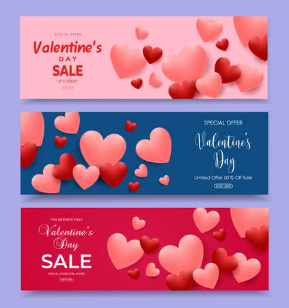 Valentine's Day sale horizontal banners set with pink and red shaped hearts balloons. Vector illustration for greeting cards, gift, wallpaper, flyers, invitation, posters, brochure, voucher, banners.