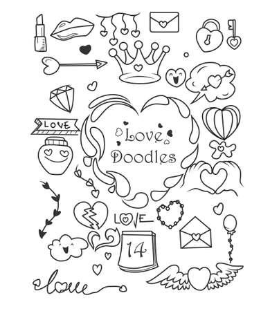 Set of Valentine's day doodle elements Vektoros illusztráció