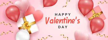Happy Valentine's Day banner template with pink hearts, gift boxes, gold confetti, and red balloons on pink background
