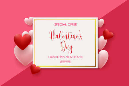 Valentine's Day sale background with pink and red shaped hearts balloons. Vector illustration for greeting cards, wallpaper, flyers, invitation, posters, brochure, voucher, banners
