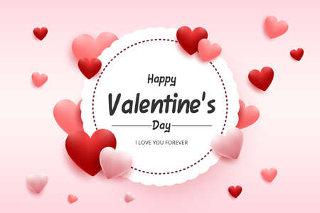 Happy valentine's day greeting card. Vector illustration of red and pink hearts with white round frame