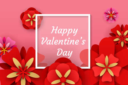 Valentine's day background. Vector illustration of red and pink paper flowers with white square frame Иллюстрация