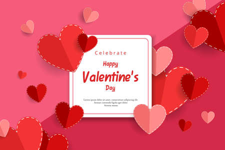 Happy valentine's day greeting card. Vector illustration of red and pink paper hearts with white square frame