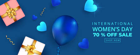 8 March. International happy women's day sale banner