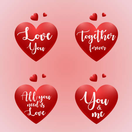 Set of valentines day quotes text template with red heart Иллюстрация