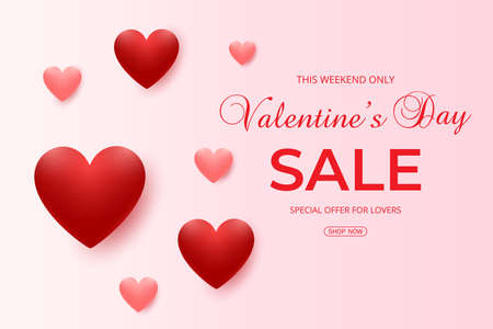 Valentine's Day sale background with pink and red hearts balloons. Vector illustration for greeting cards, wallpaper, flyers, invitation, posters, brochure, voucher, banners