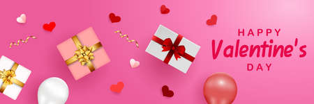 Happy Valentine's Day banner template with paper hearts, gift boxes, and balloons on pink background