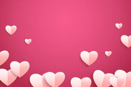 Valentine's day background. Vector illustration of paper heart flying on pink background Иллюстрация
