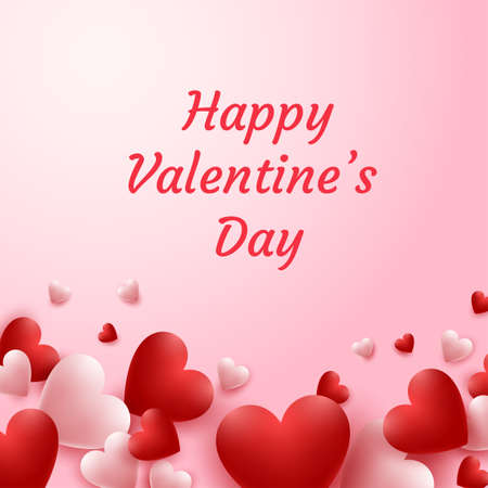Happy valentine's day greeting card. Vector illustration of red and pink hearts