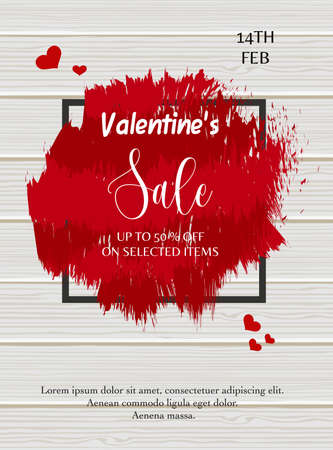 Valentine's day sale poster design template. Vector illustration with red painted grunge, black square frame on wooden texture