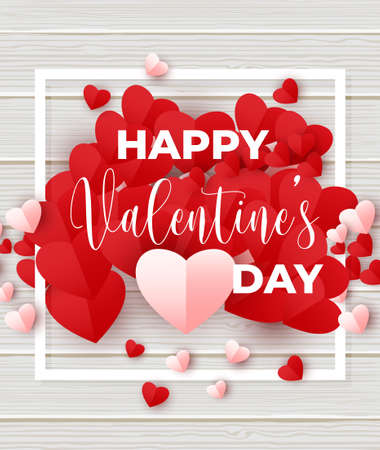 Valentine's day poster design template. Vector illustration with pink and red paper hearts, white square frame on wooden texture Иллюстрация