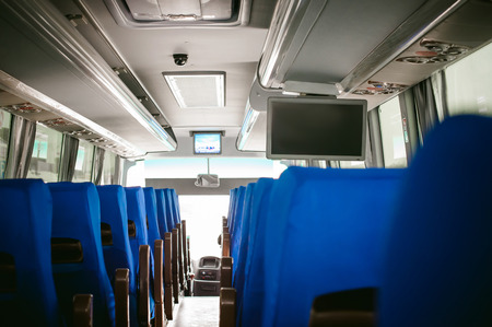 Blue Salon tourist bus transport. advertising space on the monitor Stock Photo