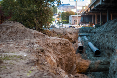 laying of pipes under the ground, repair work on the city street