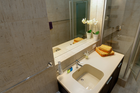 Russia, Novosibirsk - 28 January, 2016: interior room apartment. modern bathroom, sink, decor elements Editorial